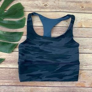 DYI blue camo print crop top sports bra